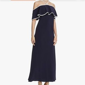 Calvin Klein black ruffle maxi dress white piping